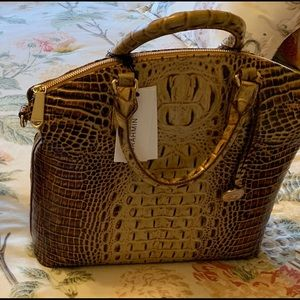Authentic Brahmin Toasted Almond Duxbury Croc Tote